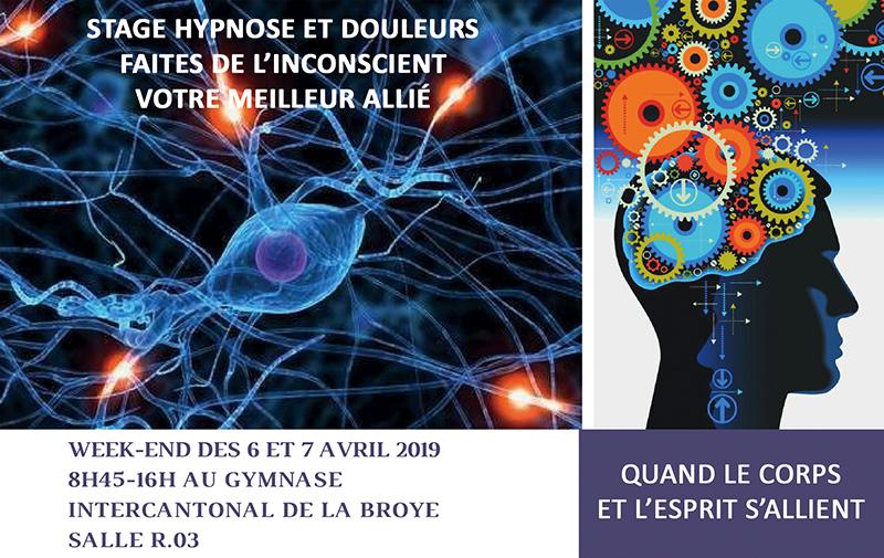 Stage Hypnose et Douleurs – 6 et 7 avril 2019 – La Broye (Suisse)